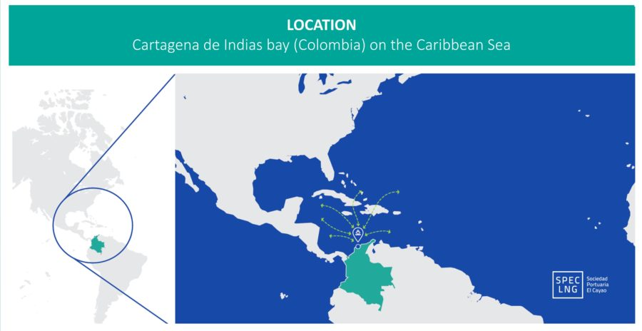 Map to show the location of SPEC LNG.